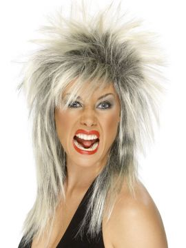 Rock Diva Wig For Sale - Rock Diva Wig, Two Tone, Blonde & Black, Long Mullet, in Display Box | The Costume Corner Fancy Dress Super Store