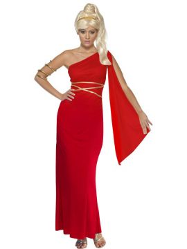 Aphrodite - Red For Sale - Roman Empress Costume, with Dress and Headpiece | The Costume Corner Fancy Dress Super Store