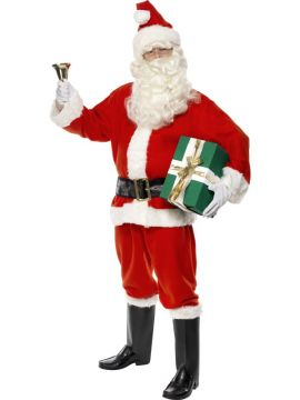 Deluxe Santa For Sale - Santa Costume, Deluxe, Red, Jacket, Trousers, Belt, Hat, Gloves and Boot Covers, in Display Bag | The Costume Corner Fancy Dress Super Store