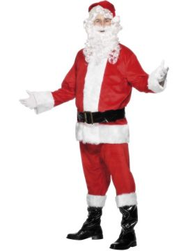 Velour Santa For Sale - Santa Suit Costume, Jacket, Trousers, Belt, Beard, Hat with Hair & Boot Covers | The Costume Corner Fancy Dress Super Store