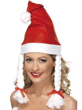 Santa Hat with Plaits For Sale - Santa Hat with Plaits | The Costume Corner Fancy Dress Super Store