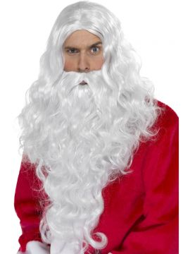 Santa Long Wig For Sale - Santa Long Wig, White, with Beard | The Costume Corner Fancy Dress Super Store