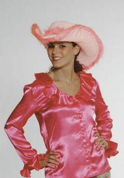 Ruffle Shirt For Sale - Satin Pink Ruffle Shirt (Hire Costume) | The Costume Corner