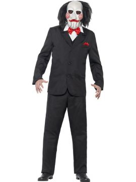 SAW Jigsaw Costume For Sale - Costume in black with Mask, jacket, mock waistcoat & shirt | The Costume Corner Fancy Dress Super Store