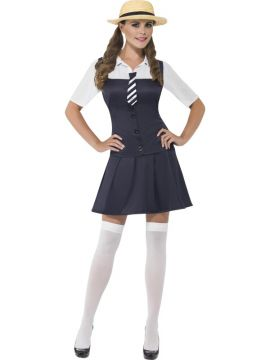 School Girl Costume For Sale - School Girl Costume, Dress, Attached Shirt, Tie and Boater Hat, in Display Bag | The Costume Corner Fancy Dress Super Store