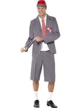 Schoolboy For Sale - Schoolboy Costume, Grey, Blazer, Shirt Front & Tie, Shorts & Cap | The Costume Corner Fancy Dress Super Store