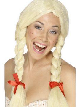 Dutch Schoolgirl Wig For Sale - Schoolgirl / Dutch Wig, Blonde, Plaits with Ribbons   The Costume Corner Fancy Dress Super Store