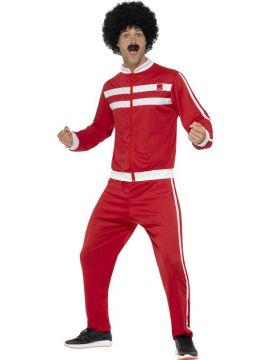 Scouser Tracksuit For Sale - Red & White, with Jacket & Trousers | The Costume Corner Fancy Dress Super Store