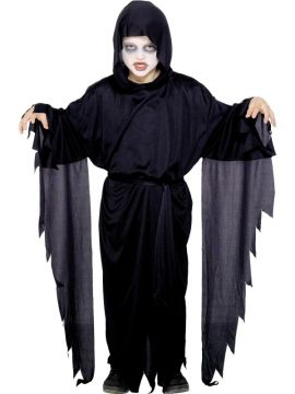 Screamer Ghost Robe For Sale - Screamer Ghost Robe, Black, with Hood and belt | The Costume Corner Fancy Dress Super Store