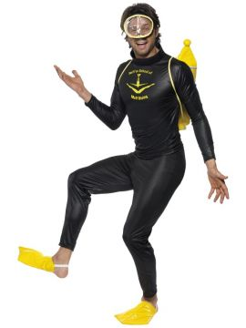 Scuba Muff Diver Costume For Sale - Scuba Muff Diver Costume, Black, with Top, Trousers, Mask, Flippers and Tank, in Display Bag | The Costume Corner Fancy Dress Super Store