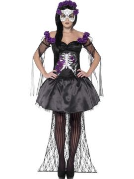 Senorita For Sale - Printed top, skirt, rose headband & latex mask | The Costume Corner Fancy Dress Super Store