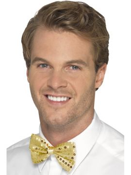 Sequin Bow Tie For Sale - Gold Dickie Bow | The Costume Corner Fancy Dress Super Store