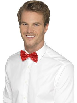 Sequin Red Bow Tie For Sale - Red Dicky Bow Tie | The Costume Corner Fancy Dress Super Store