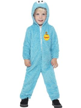Sesame Street - Cookie Monster For Sale - Sesame Street, Cookie Monster Costume, Blue, All-in-One Zip Up Suit, in Display Bag | The Costume Corner Fancy Dress Super Store