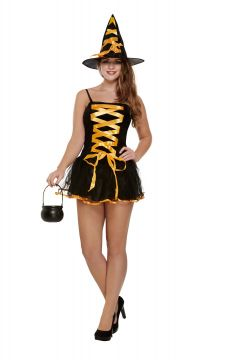 Sexy Orange Witch For Sale - Contains Dress & Hat  Standard Womens One Size | The Costume Corner Fancy Dress Super Store