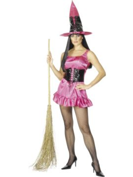 Sexy Witch - Pink For Sale - Sexy Witch Costume, Pink, Dress With Bodice and Hat | The Costume Corner Fancy Dress Super Store