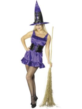 Sexy Witch - Purple For Sale - Sexy Witch Costume, Pink, Dress With Bodice and Hat | The Costume Corner Fancy Dress Super Store