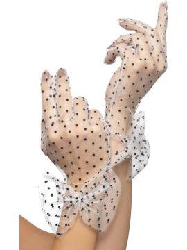 Short Net Gloves For Sale - Short Net Polka Dot Gloves in Black and White with bow cuffs. | The Costume Corner Fancy Dress Super Store