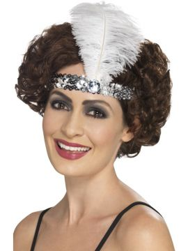 Silver Flapper Headband For Sale - Flapper Headband, Silver, with Feather | The Costume Corner Fancy Dress Super Store