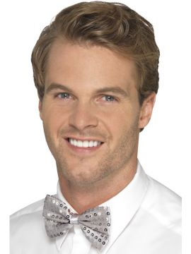 Silver Sequin Bow Tie For Sale - Silver Dickie Bow | The Costume Corner Fancy Dress Super Store