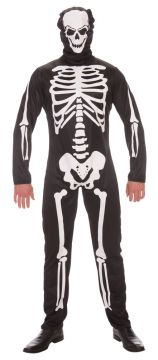 Skeleton For Sale - Includes: Printed jumpsuit & fabric mask. One size only. | The Costume Corner Fancy Dress Super Store