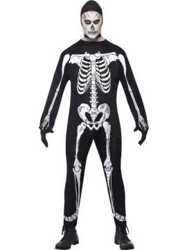 Skeleton Jumpsuit Costume For Sale - Skeleton Jumpsuit Costume, Black, with Hood and Gloves, in Display Bag | The Costume Corner Fancy Dress Super Store