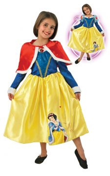 Snow White For Sale - Part of our Winter Wonderland signature collection, here's one you can wear whatever the season. With its distinctive furry cuffs and cape, and Snow White appearing on the gold... | The Costume Corner Fancy Dress Super Store