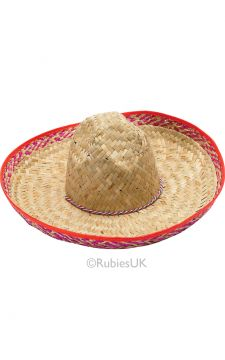 Sombrero Hat For Sale - Straw hat with brightly coloured trim | The Costume Corner Fancy Dress Super Store
