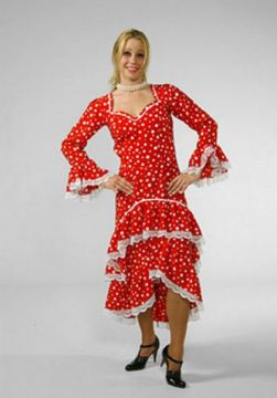 Spanish Dress Polka For Sale - Spanish Dress Red/White Polka (Hire Costume) | The Costume Corner