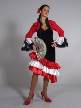 Spanish Dress Red/White/Black For Sale - Spanish Dress Red/White/Black (Hire Costume) | The Costume Corner