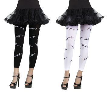 Stitch Footless Tights - White For Sale - Includes one pair of White Stitch Footless Tights. | The Costume Corner Fancy Dress Super Store