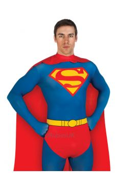 Superman 2ND SKIN For Sale - Full-body stretch jumpsuit and cape. Budding Superman fans better be in good shape if they want to slip their Clark Kent figure into this number! This figure-hugging full-... | The Costume Corner Fancy Dress Super Store