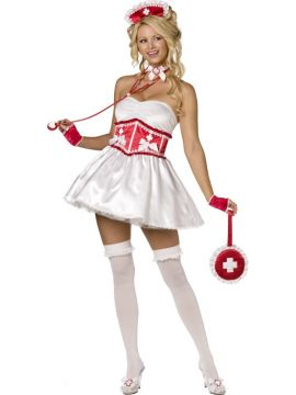 Sweetheart Nurse For Sale - Fever Boutique Sweetheart Nurse 4 Piece Costume, With Dress, Corset, Gloves and Headband. | The Costume Corner Fancy Dress Super Store
