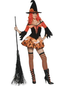 Tainted Garden Wicked Witch Costume For Sale - Tainted Garden Wicked Witch Costume, Orange, with Dress and Hat, in Display Bag | The Costume Corner Fancy Dress Super Store