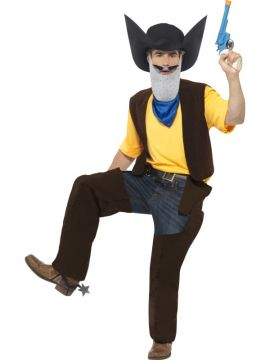 Texas Pete For Sale - Texas Pete Costume, Top, Chaps, Belt, Holsters, Hat, Scarf, Spurs, Chin & Tash | The Costume Corner Fancy Dress Super Store