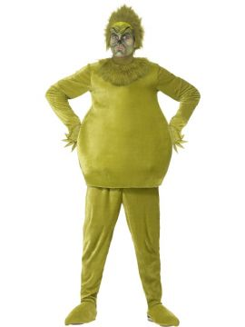 The Grinch For Sale - Green costume with a latex headpiece, top gloves, trousers & shoe covers | The Costume Corner Fancy Dress Super Store