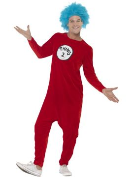 Thing 1 or Thing 2 For Sale - One costume in red with jumpsuit, blue wig & 2 badges | The Costume Corner Fancy Dress Super Store