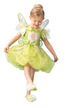 Tinkerbell For Sale - Turn into Tinker Bell from top to toe! You'll love her lime green dress, patterned wings and slippers - the fluffy bits look like they're made of pixie dust. Imagine leading Pe... | The Costume Corner Fancy Dress Super Store