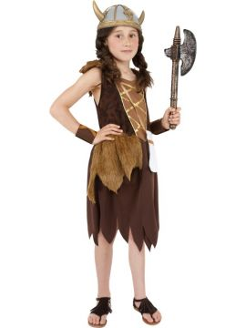 Viking Girl For Sale - Viking Girl Costume, Brown, With Dress and Wristcuffs | The Costume Corner Fancy Dress Super Store