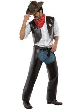 Village People Cowboy Costume For Sale - Village People Cowboy Costume, Black, with Vest, Chaps, Sheriff Badge and Bandanna, in Display Bag | The Costume Corner Fancy Dress Super Store