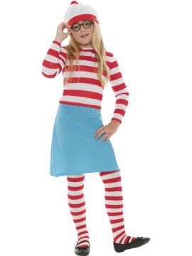 Where's Wally? Wenda For Sale - Where's Wally? Wenda Child Costume, includes Hat, Top, Skirt, Glasses and Tights | The Costume Corner Fancy Dress Super Store