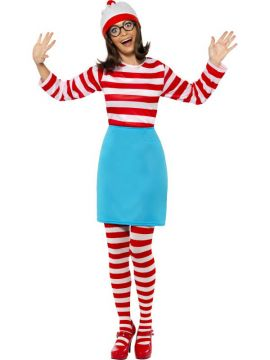 Where's Wally? Wenda For Sale - Where's Wally? Wenda Costume, includes Top, Skirt, Glasses, Tights and Hat | The Costume Corner Fancy Dress Super Store