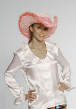 Ruffle Shirt For Sale - White Satin Ruffle Shirt