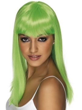 Glamourama Wig For Sale - Long Green Glamourama Wig with Fringe | The Costume Corner Fancy Dress Super Store