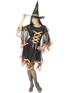 Winsome Witch - Orange For Sale - Winsome Witch Costume, Black, With Orange Ribbon Trim and Hat | The Costume Corner Fancy Dress Super Store
