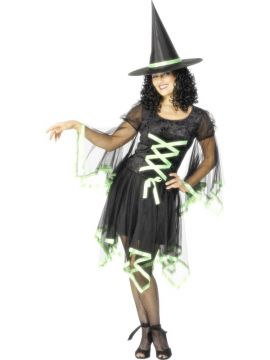 Winsome Witch - Green For Sale - Winsome Witch Costume, Black, With Green Ribbon Trim and Hat | The Costume Corner Fancy Dress Super Store