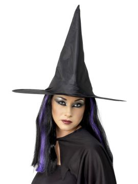 Witch Hat For Sale - Witch Hat, Black, Shiny Fabric, Wired | The Costume Corner Fancy Dress Super Store