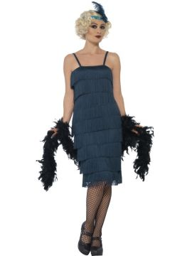 Womens Teal 20s Flapper Costume For Sale - Includes Long Dress, Headband & Gloves | The Costume Corner Fancy Dress Super Store