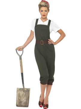 WW2 Land Girl Costume For Sale - WW2 Land Girl, Top, Dungarees and Head Scarf | The Costume Corner Fancy Dress Super Store