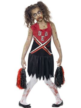 Zombie Cheerleader Costume For Sale - Zombie Cheerleader Costume, Red & Black, with Blood Stained Dress and Pom Poms, in Display Bag | The Costume Corner Fancy Dress Super Store